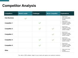 Competitor Analysis Explanations Ppt Powerpoint Presentation File Model