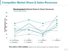 Competitor Market Share And Sales Revenues Presentation Slides