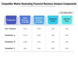 Competitor Matrix Illustrating Financial Business Analysis Components