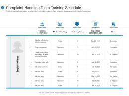 Complaint Handling Team Training Schedule Customer Complaint Mechanism Ppt Template