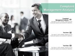 Complaint Management Analysis Ppt Powerpoint Presentation Ideas Backgrounds Cpb