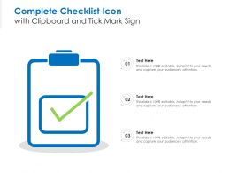 Complete Checklist Icon With Clipboard And Tick Mark Sign
