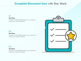 Complete Document Icon With Star Mark