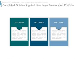 Completed Outstanding And New Items Presentation Portfolio