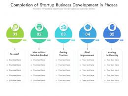 Completion Of Startup Business Development In Phases
