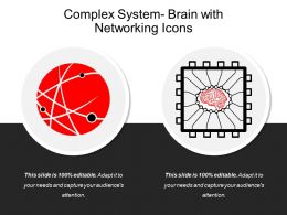 Complex System Brain With Networking Icons