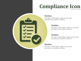 Compliance Icon Sample Of Ppt Presentation
