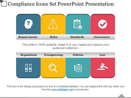 Compliance Icons Set Powerpoint Presentation