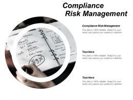 Compliance Risk Management Ppt Powerpoint Presentation Gallery Deck Cpb