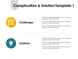 Complication And Solution Template Challenges Ppt Powerpoint Presentation Pictures Icon
