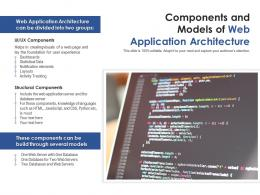 Components And Models Of Web Application Architecture