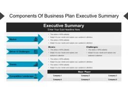 Components Of Business Plan Executive Summary Powerpoint Guide