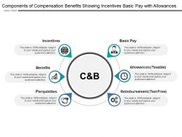Components Of Compensation Benefits Showing Incentives Basic Pay With Allowances