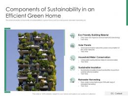 Components Of Sustainability In An Efficient Green Home
