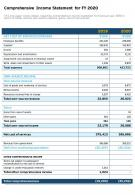 Comprehensive Income Statement For FY 2020 Presentation Report Infographic PPT PDF Document