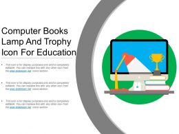 Computer Books Lamp And Trophy Icon For Education