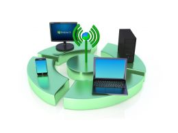 Computer Devices Around Wi Fi Signal Showing Concept Of Connectivity Stock Photo