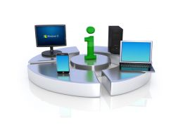 Computer Devices Showing Concept Of Information Technology Stock Photo