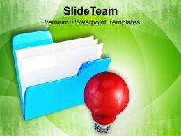 Computer Folder With Bulb Innovative Business Powerpoint Templates Ppt Themes And Graphics 0113