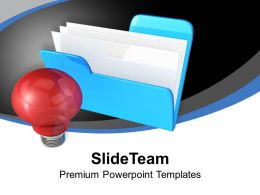 Computer Folder With Light Bulb Technology PowerPoint Templates PPT Themes And Graphics 0113