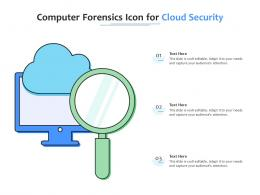 Computer Forensics Icon For Cloud Security