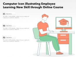 Computer Icon Illustrating Employee Learning New Skill Through Online Course