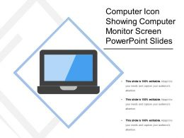 Computer Icon Showing Computer Monitor Screen Powerpoint Slides