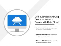 Computer Icon Showing Computer Monitor Screen With Data Cloud