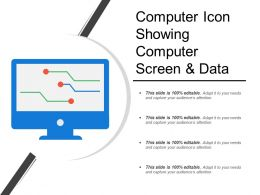Computer Icon Showing Computer Screen And Data