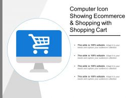 Computer Icon Showing Ecommerce And Shopping With Shopping Cart