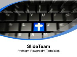 Computer Keyboard With Cross Symbol Christian PowerPoint Templates PPT Themes And Graphics 0113