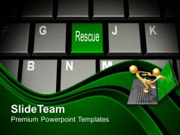 Computer Keyboard With Rescue Key PowerPoint Templates PPT Themes And Graphics 0213