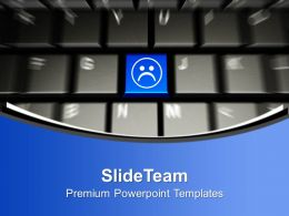 Computer Keyboard With Sad Smiley Face PowerPoint Templates PPT Themes And Graphics 0113