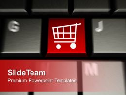 Computer Keyboard With Shopping Cart Key Powerpoint Templates Ppt Themes And Graphics 0113