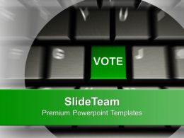Computer Keyboard With Vote Button Election PowerPoint Templates PPT Themes And Graphics 0113