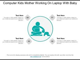 Computer Kids Mother Working On Laptop With Baby
