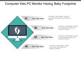 Computer Kids Pc Monitor Having Baby Footprints