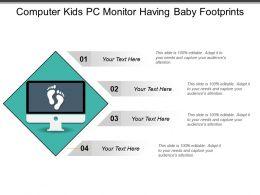 Computer Kids Pc Monitor Having Baby Footprints