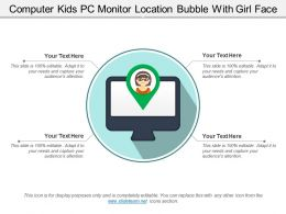 Computer Kids Pc Monitor Location Bubble With Girl Face