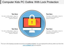 Computer Kids Pc Outline With Lock Protection