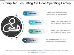 Computer Kids Sitting On Floor Operating Laptop