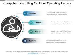 Computer Kids Sitting On Floor Operating Laptop