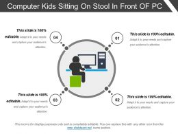 Computer Kids Sitting On Stool In Front Of Pc