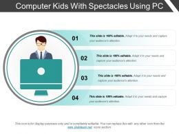 Computer Kids With Spectacles Using Pc