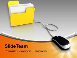 Computer Mouse And Yellow Folder PowerPoint Templates PPT Themes And Graphics 0313