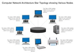 Computer Network Architecture Star Topology Showing Various Nodes