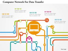 Computer Network For Data Transfer Flat Powerpoint Design