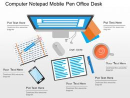 Computer Notepad Mobile Pen Office Desk Flat Powerpoint Design