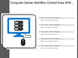 Computer Server Identifies Control Area With Mouse Icon