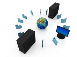Computer Server With Globe Showing Concept Of Network Stock Photo